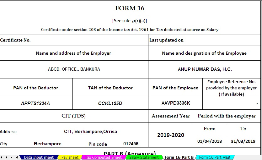 Download and Prepare at a time 100 employees Automated Income Tax Form 16 Part A&B For Financial Year 2019-20 & Ass Year 2020-21 ( Modified Format of Form 16 Part B [ As per the CBDT Notification No.36/2019 Dated 12/04/2019