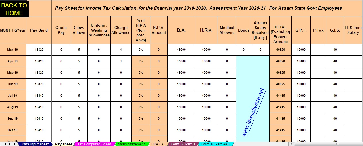 Download Automated All in One TDS on Salary for Assam State Govt Employees for the Financial Year 2019-2020 and Assessment Year 20120-2021
