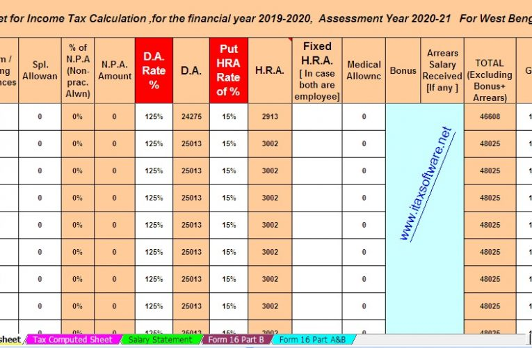 Download Automated All in One TDS on Salary West Bengal Govt  Employees for the Financial Year 2019-2020 and Assessment Year 20120-2021.