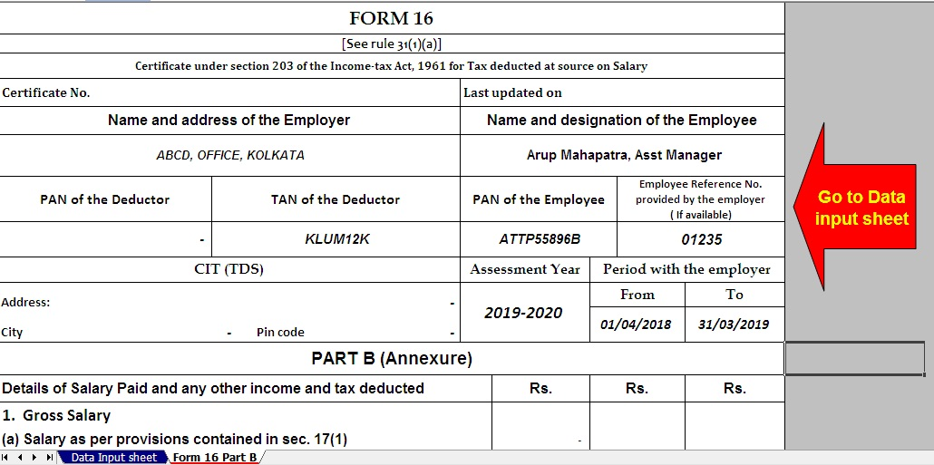 Enhanced Income Tax Rebate U/s 87A from Rs. 2,500/- to 5,000/- for the F.Y. 2019-20, With Automated Master of Form 16 Part B (New Format) for the F.Y. 2018-19