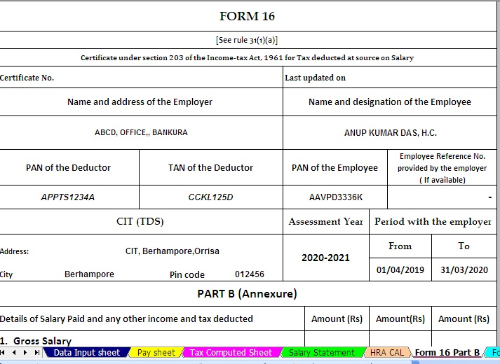 Download and Prepare One by One Automated Income Tax Form 16 Part B For Financial Year 2019-20 & Ass Year 2020-21 ( Modified Format of Form 16 Part B [ As per the CBDT Notification No.36/2019 Dated 12/04/2019
