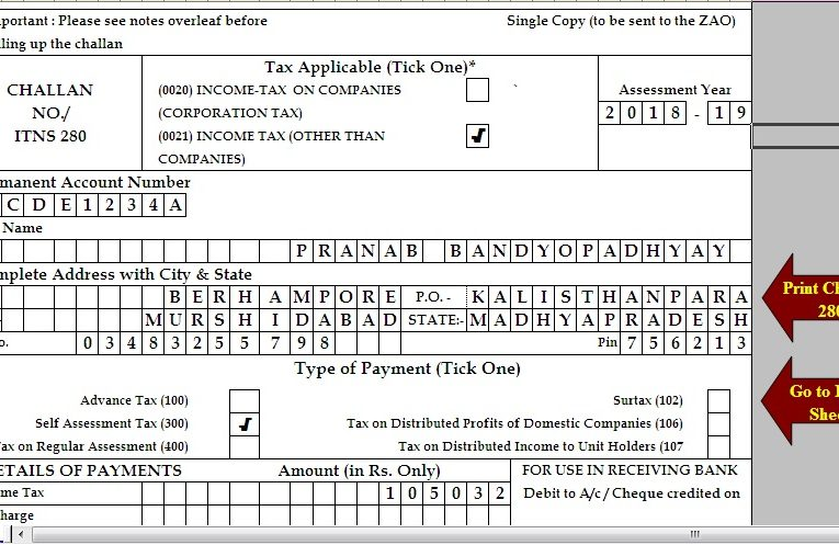 Free Download TDS challan 280 excel format for Advance Tax/ Self Assessment Tax/ Income Tax paid through any Bank ( Of line)