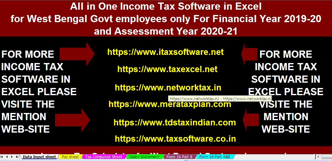 Download Automated Income Tax Preparation Excel Based Software All in One For West Bengal Government Employees for F.Y. 2019-20 With Income Tax Deductions from Gross Total Income ?A.Y 2020-21 & FY 2019-20