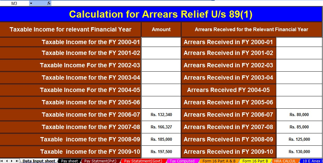 Income Tax Arrears Relief Calculator U/s 89(1)