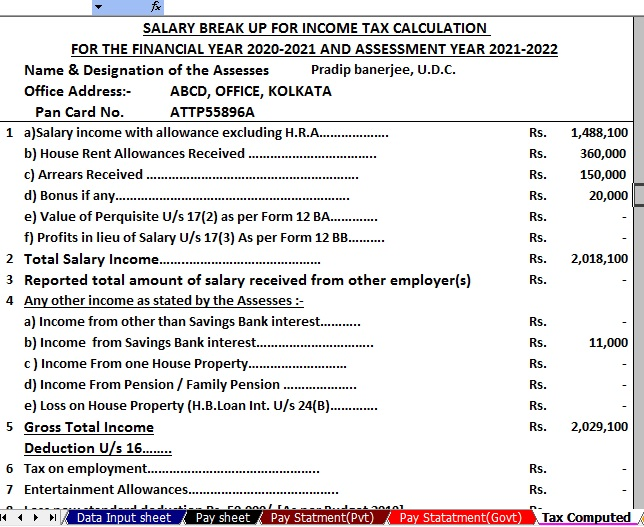 Income Tax Calculator for the Bihar State Employees for F.Y.2020-21