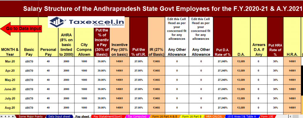 Income Tax Calculator for the Andhara Pradesh State Employees